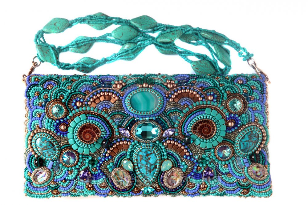 Buy Leather handbag a clutch embroidered with natural stones and beads
