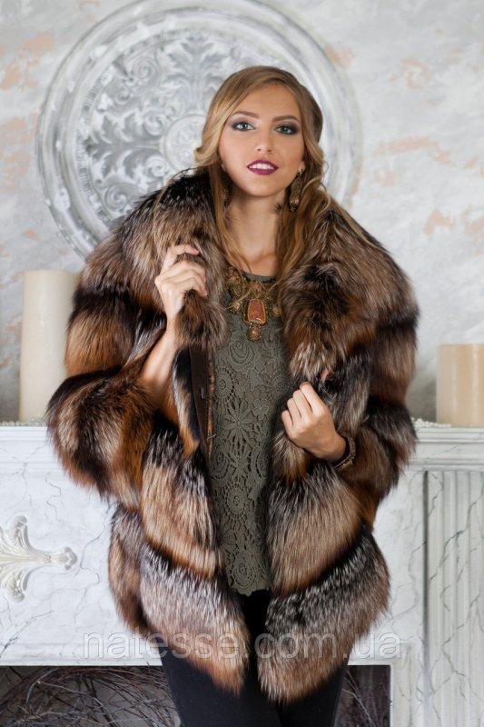 """Шуба жилет из чернобурки """"Ирен"""" silver fox fur coat jacket vest gilet"""