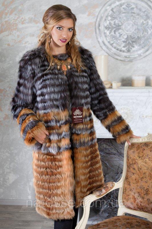 """Пальто из чернобурки и лисы """"Илона"""" silver fox fur coat jacket"""