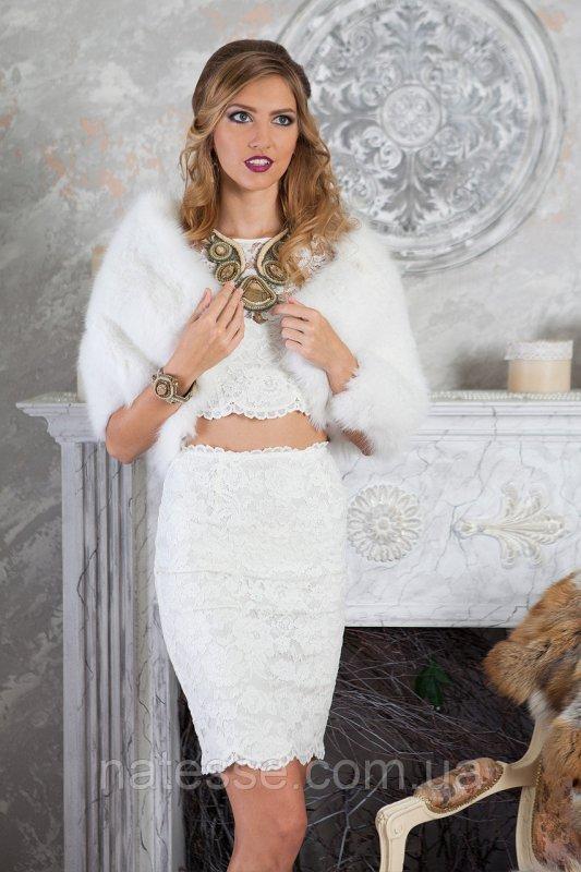 Белый палантин  из финского песца
