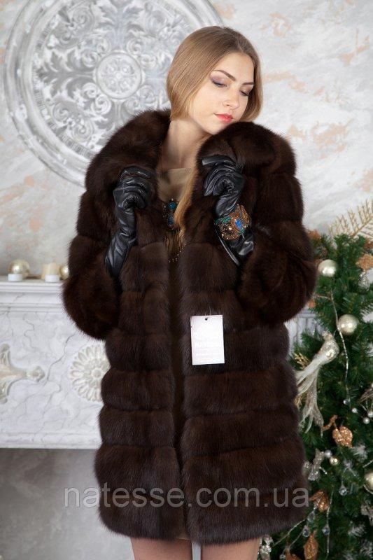 Шуба из темного соболя sable jacket fur coat