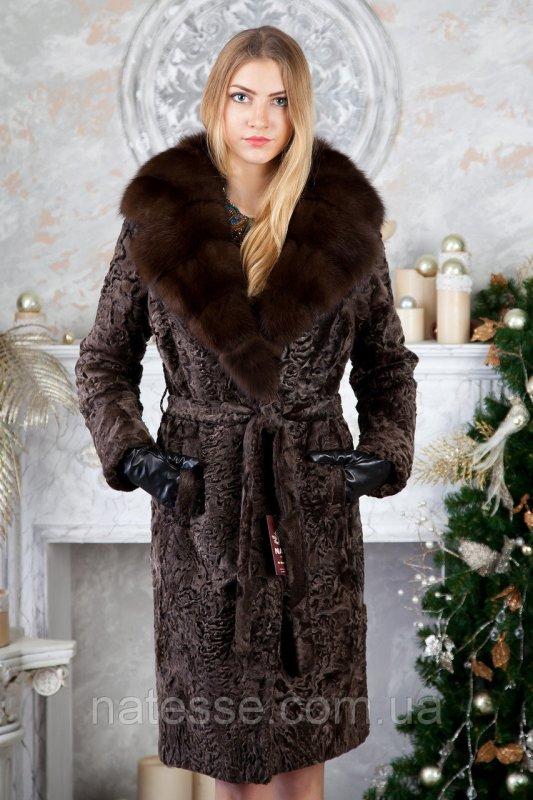 Шуба из каракульчи с воротником из куницы swakara broadtail jacket coat furcoat