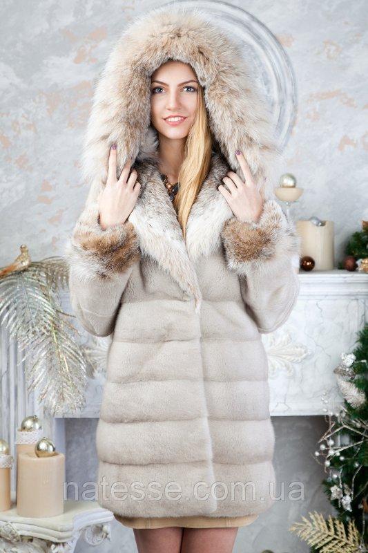 "Шуба из норки ""Платинум блонд"" с капюшоном Real mink fur coats jackets"