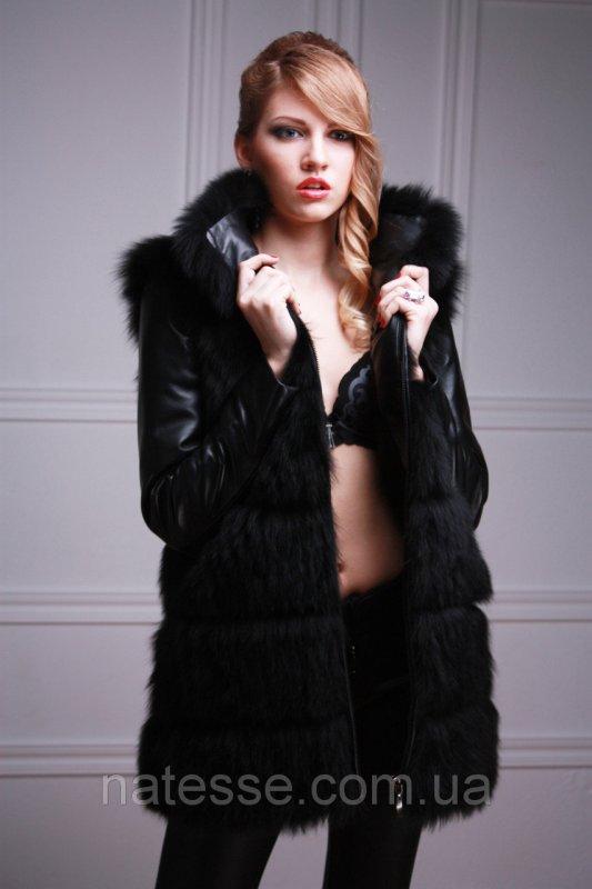 Куртка жилет из черного песца, рукава съемные  black-dyed blue fox fur coat vest
