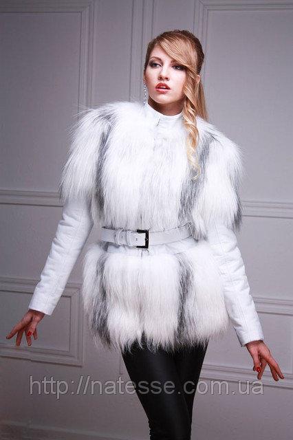 Меховая куртка-жилет из белой полярной лисы, рукава кожаные съемные