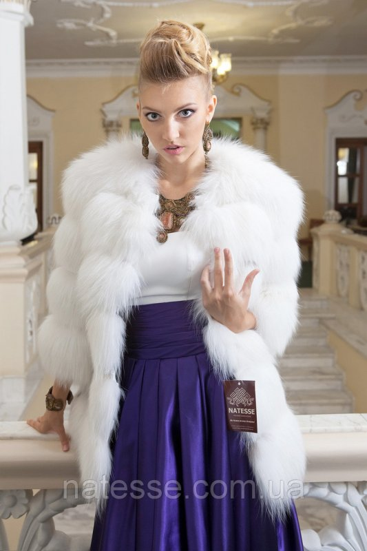 """Шуба жилетка из белой полярной лисы """"Катрин"""""""