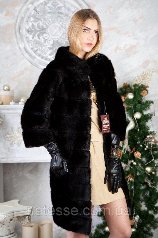 Шуба из норки BlackGlama длинная Real mink fur coats jackets