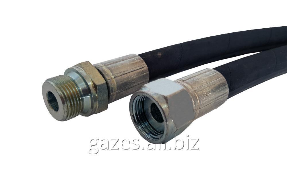 Рукав для подключения ГРК ВТ д.16 1SN штуцер AGRF 3/4 -  гайка DKRF 3/4 цилиндрическая резьба плоский торец раздаточной колонки к газовому модулю