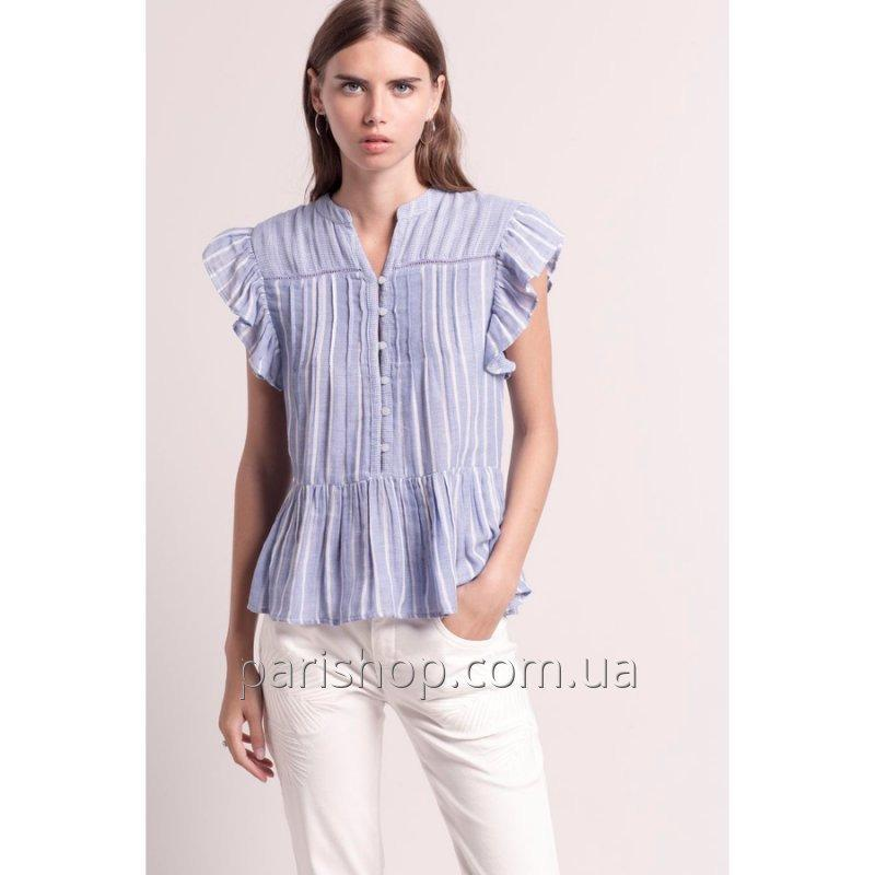 Buy Female cotton blue blouse of DEBY DEBO (France) NEW SPRING SUMMER 2018 COLLECTION