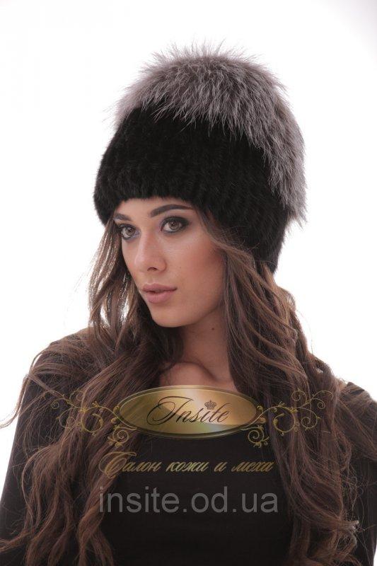 шапка вязаная из меха норки в сочетании с мехом чернобурки 065шп