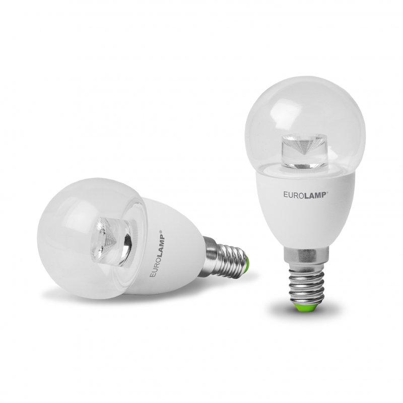 Светодиодная Eurolamp LED Лампа Шар Еко G45 5W E14 3000K прозрачная