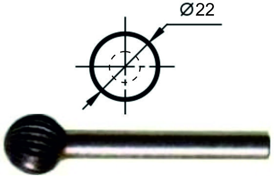 Борфреза сферическая D Ø22 мм., нормальной точности