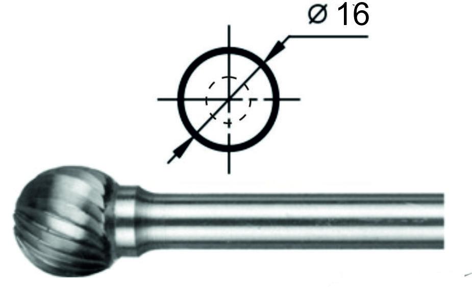 Борфреза сферическая D Ø16 мм.