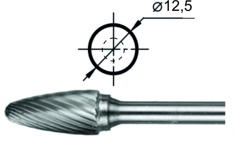 Борфреза гиперболическая со сферическим торцом F Ø12,5 мм.