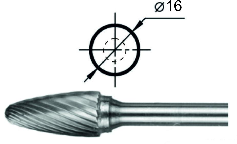 Борфреза гиперболическая со сферическим торцом F Ø16 мм.