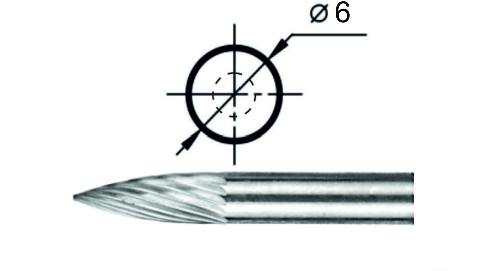 Борфреза эллипсовидная S1 Ø6 мм.