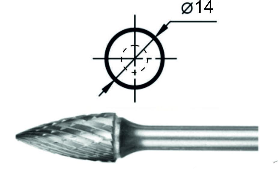 Борфреза гиперболическая с точечным торцом G Ø14 мм.