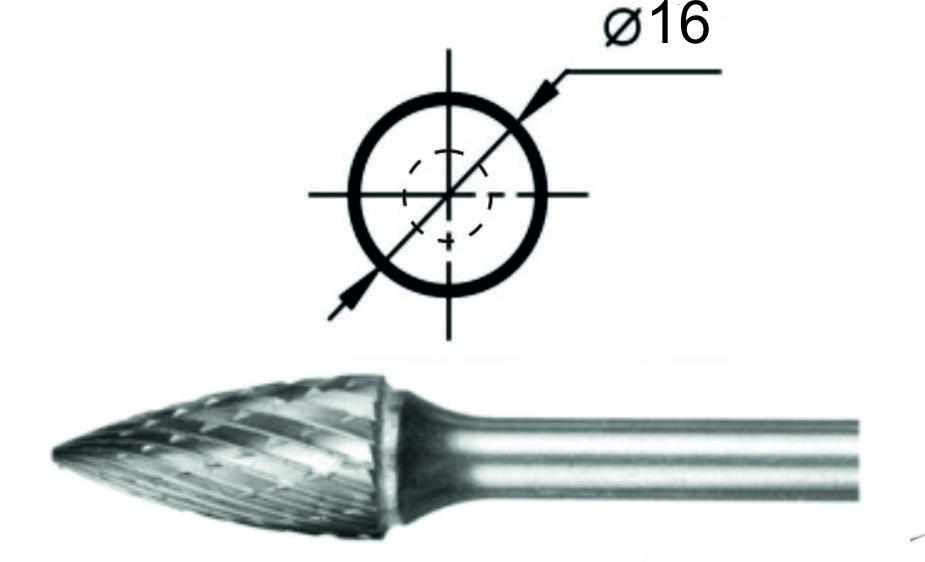 Борфреза гиперболическая с точечным торцом G Ø16 мм.