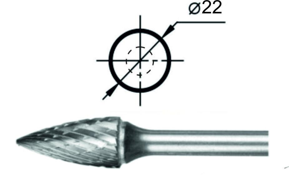 Борфреза гиперболическая с точечным торцом G Ø22 мм.