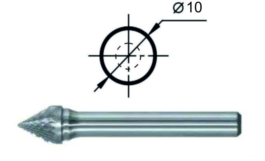 Борфреза коническая угол 60° J Ø10 мм.