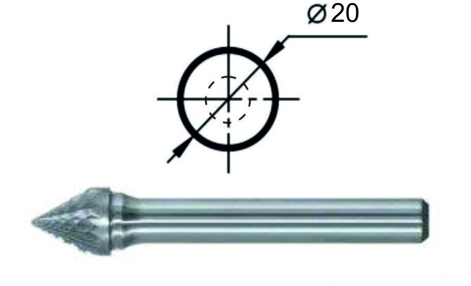 Борфреза коническая угол 60° J Ø20 мм.