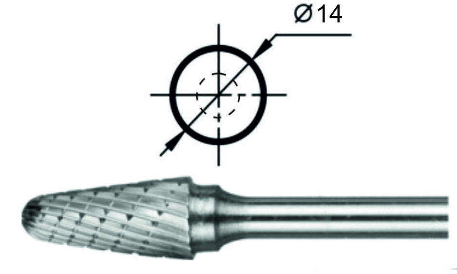 Борфреза сфероконическая L Ø14 мм.