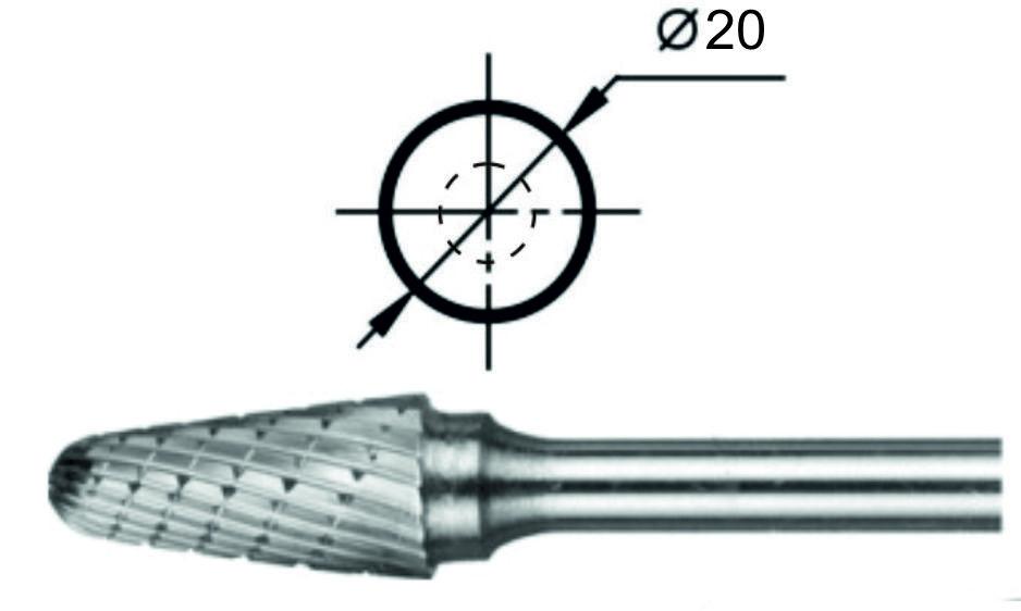 Борфреза сфероконическая L Ø20 мм.