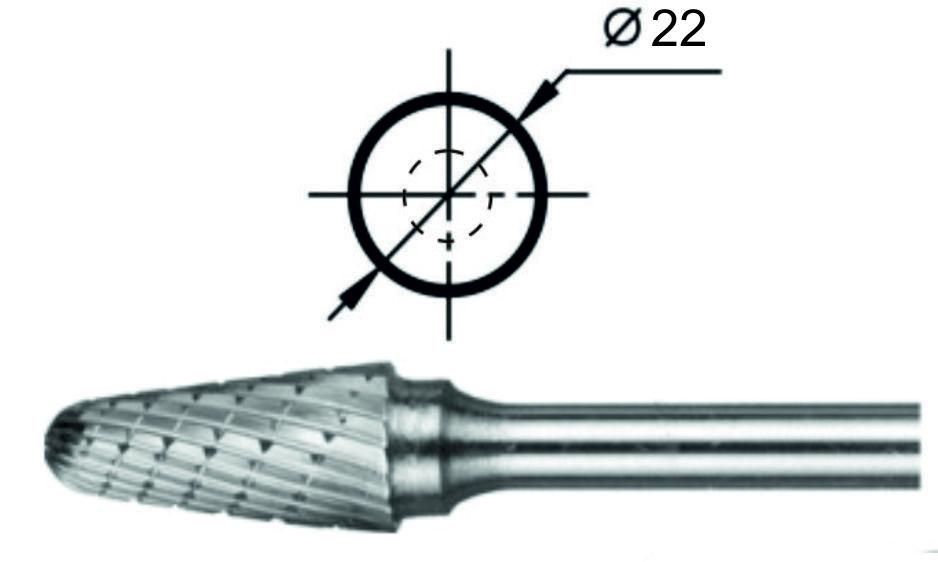 Борфреза сфероконическая L Ø22 мм.