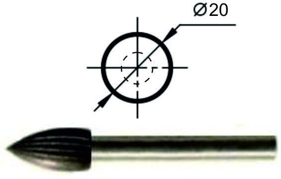 Борфреза эллипсовидная S Ø20 мм.