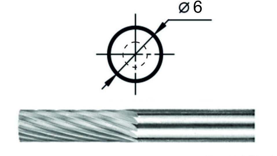 Борфреза цилиндрическая А1 Ø6 мм.