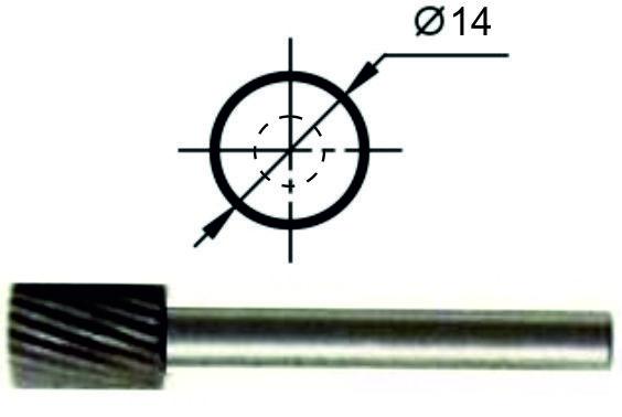 Борфреза цилиндрическая А Ø14 мм., нормальной точности