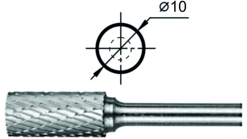 Купить Борфреза цилиндрическая с заточенным торцом АТ Ø10 мм.