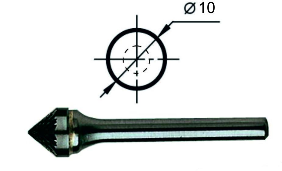 Борфреза коническая угол 90° К Ø10 мм.
