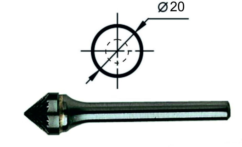 Борфреза коническая угол 90° К Ø20 мм.