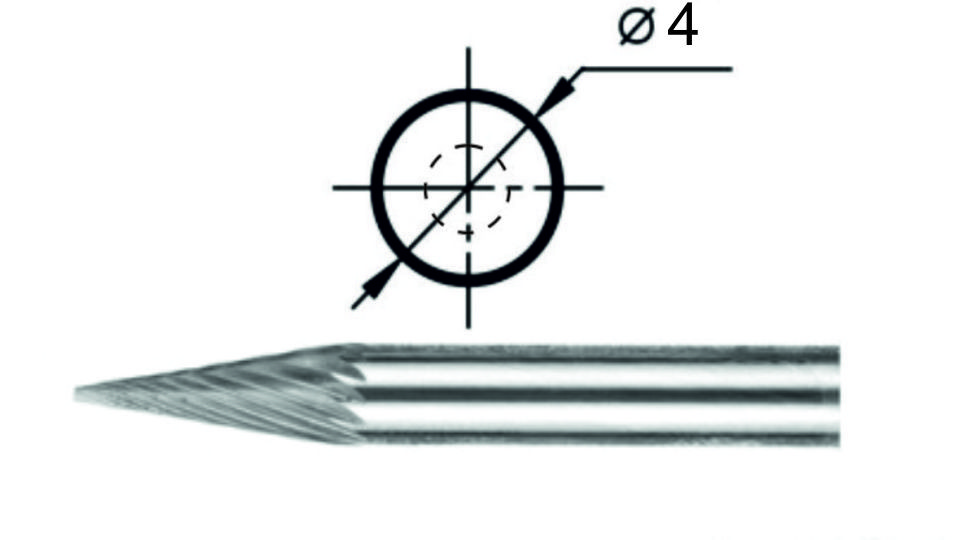Rotary file conic M1 Ø4 of mm.