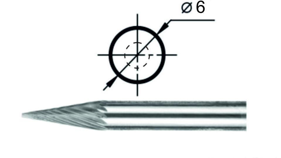 Купить Борфреза коническая М1 Ø6 мм.