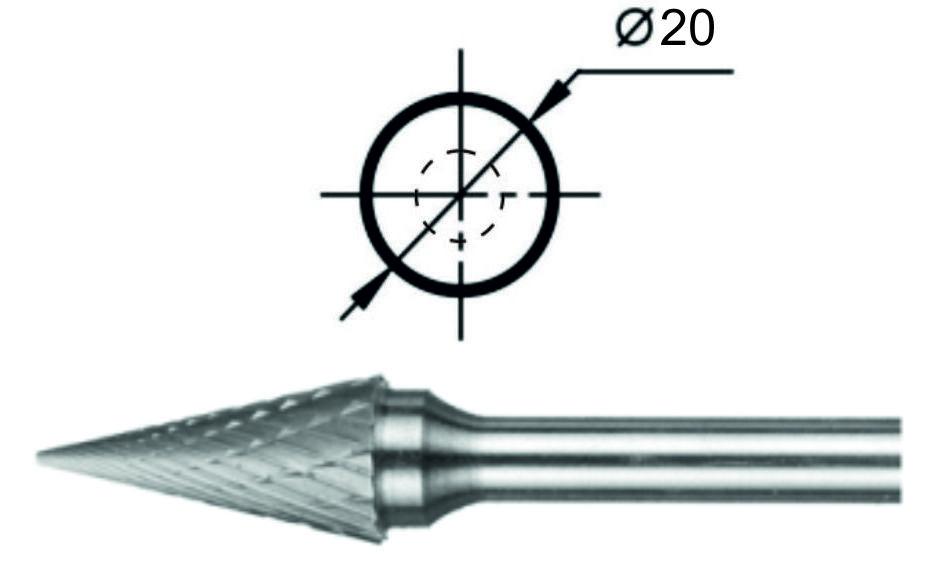 Борфреза коническая М Ø20 мм.