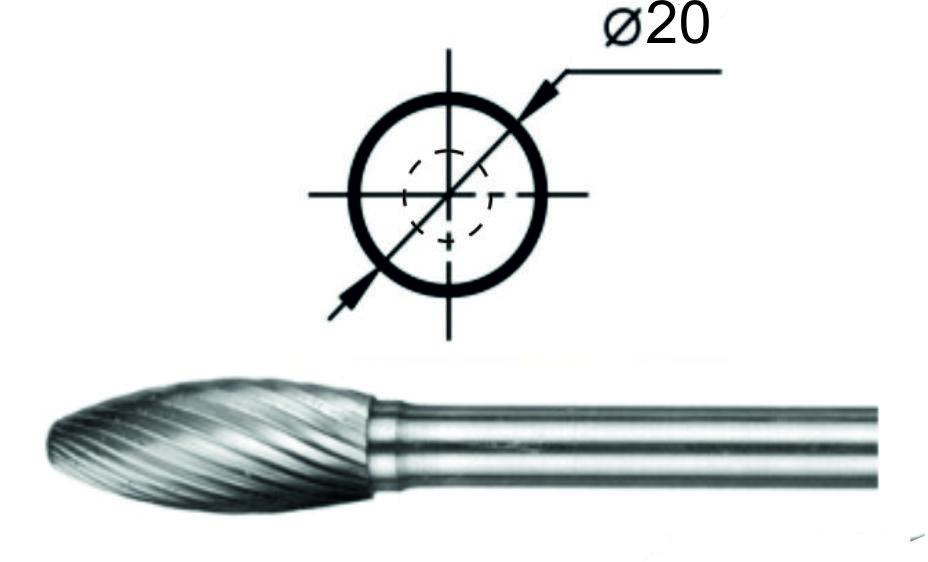 Борфреза пламевидная Н Ø20 мм.