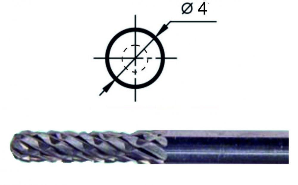 Борфреза сфероцилиндрическая С1 Ø4 мм.