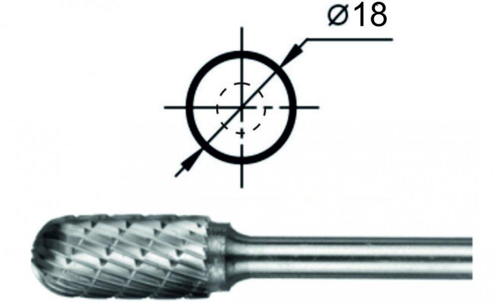 Купить Борфреза сфероцилиндрическая С Ø18 мм.