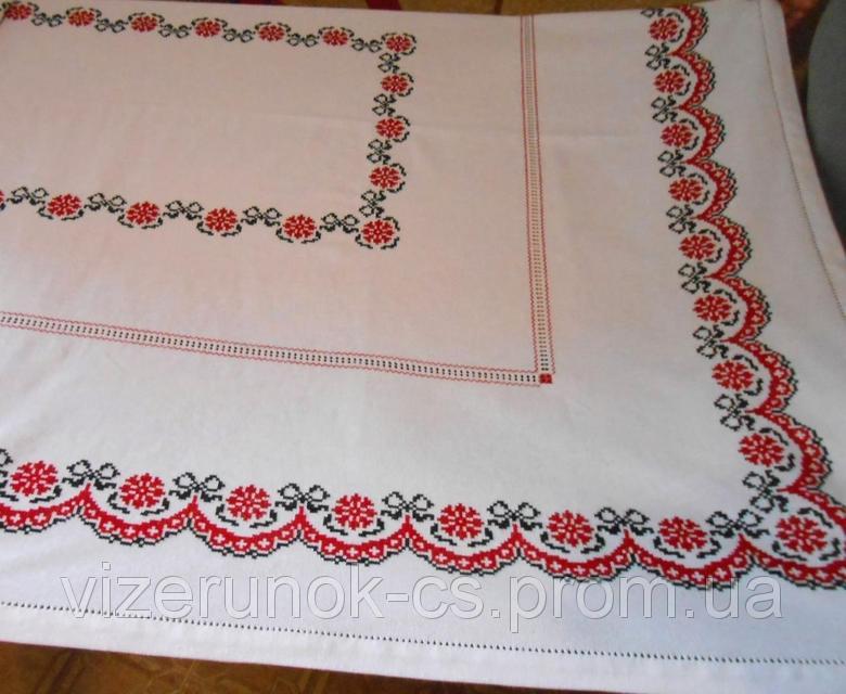 Купить Вышитая скатерть ручной работы с мережкой Калиновый венок
