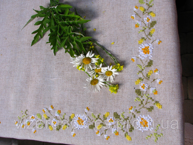 Buy Embroidered tablecloth handmade linen Camomile field
