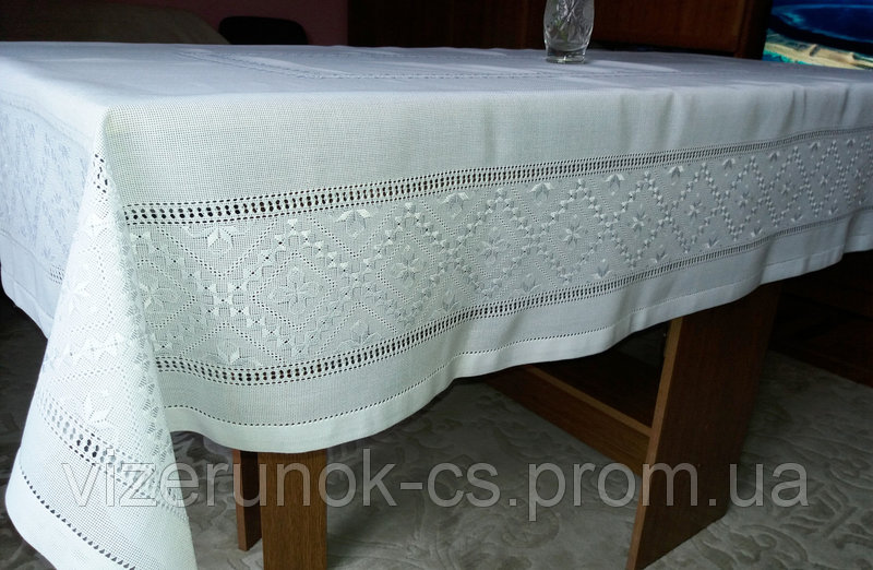 White tablecloth embroidered with silk thread handmade Sharmel