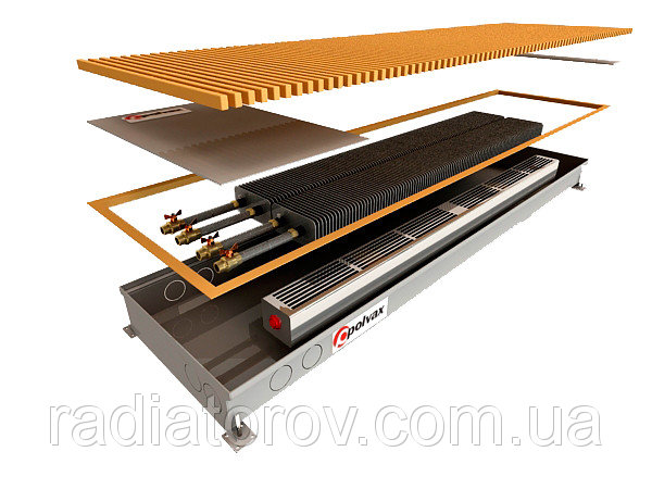 Внутрипольные конвекторы Polvax KE.300.3000.90/120 без вентилятора