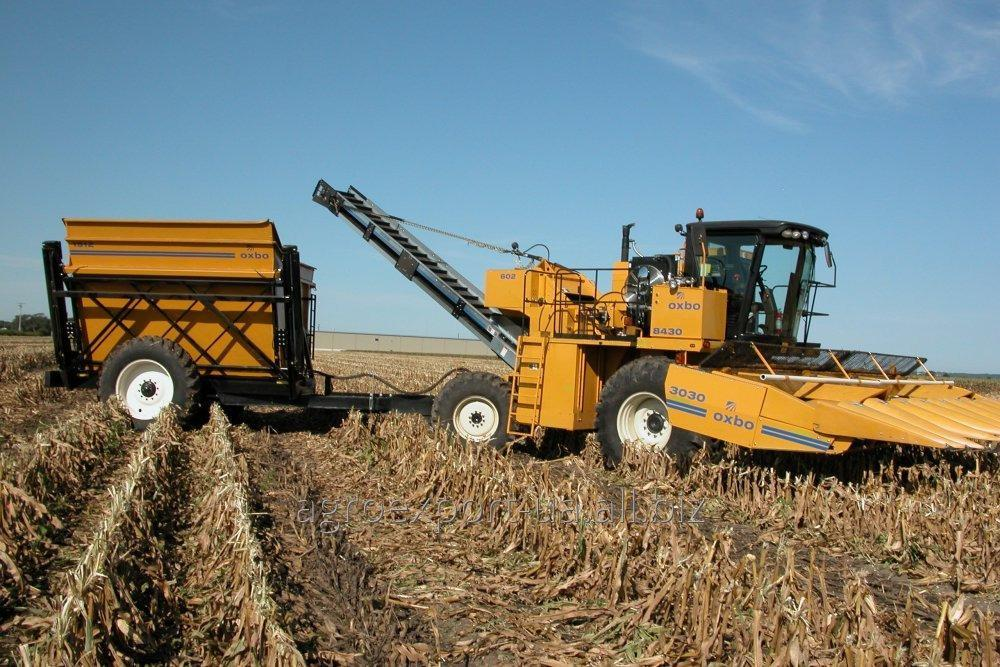 The OXBO 8430 combine for cleaning of seed and sweet corn