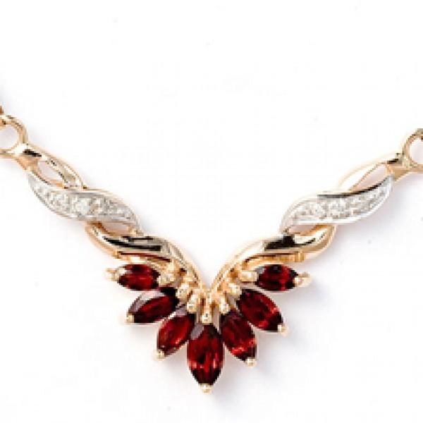 Колье из красного золота 585 пробы с гранатами и бриллиантами NGn-6096