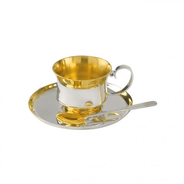 Чашка, блюдце и ложка кофейная из серебра 925 пробы 26663+26664+26682