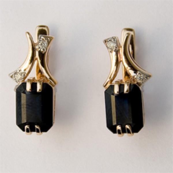 Серьги из красного золота 585 пробы с сапфирами и бриллиантами ES-6260