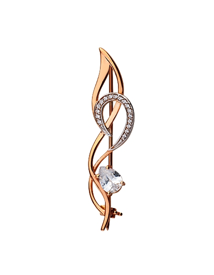 Buy Gold brooch of the 585th test with cubic zirconias, the article 15-000091341