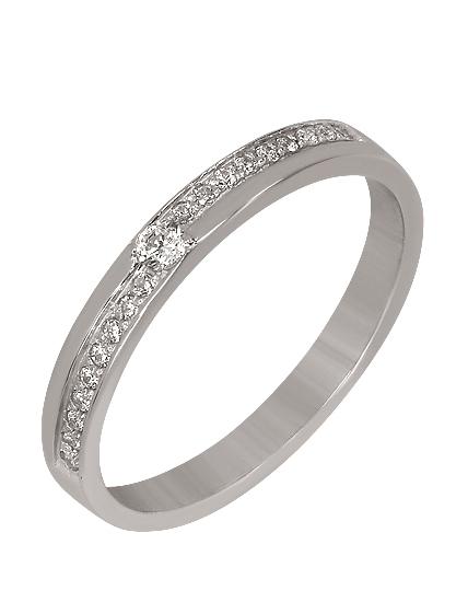 Купить Золотое обручальное кольцо 585 пробы c фианитами, артикул 15-000095027